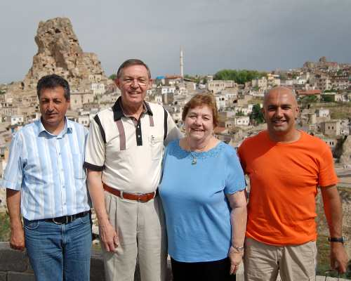 Ferrell and Elizabeth with driver and guide in at Ortahisar, Turkey.