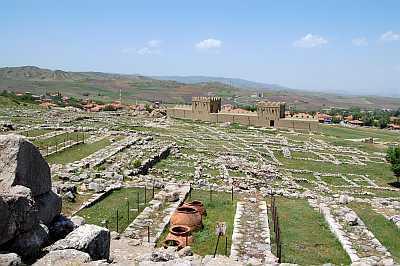 View of Hattusas toward reconstructed wall.