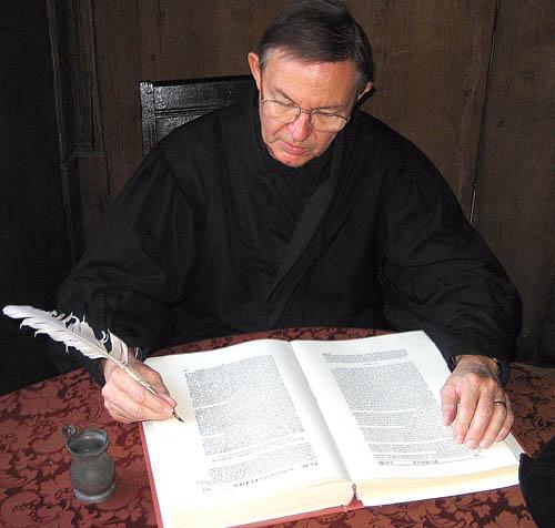 Modern Scribe in the John Knox House in Edinburgh.