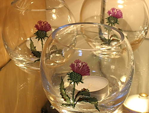 Thistles on Candleholders. Photo by Ferrell Jenkins.