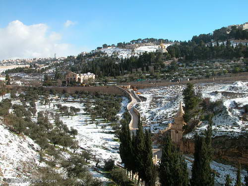 Mount of Olives and Kidron Valley in Snow