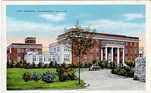 Huntsville, AL, city hospital on an old postcard.