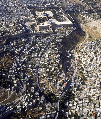 Aerial View of Jerusalem - Temple Mount and City of David. Photo belongs to Ferrell Jenkins.