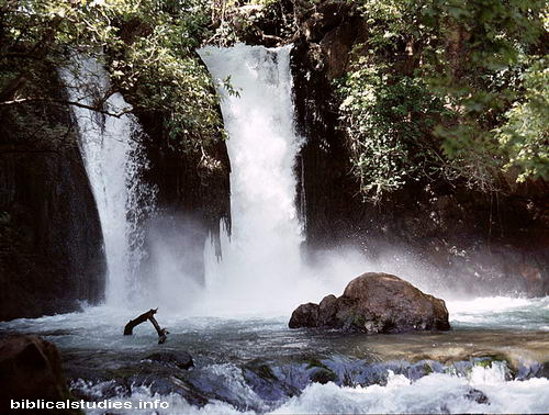 Jordan River Falls (Banias Falls) Near Caesarea Philippi in Israel. Photo by Ferrell Jenkins 1984.