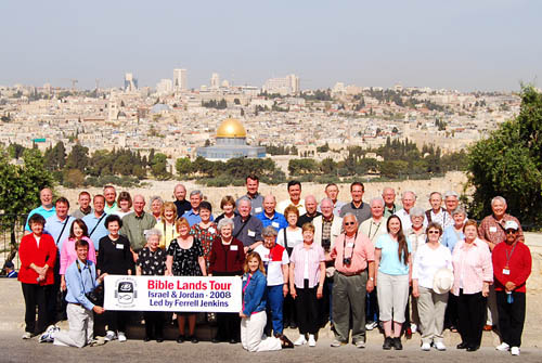 Bible Land 2008 Group Photo from Mount of Olives with Jerusalem in the background.