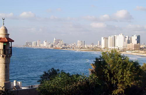 Tel Aviv from the site of ancient Joppa. The Mediterranean Sea. Photo by Ferrell Jenkins.