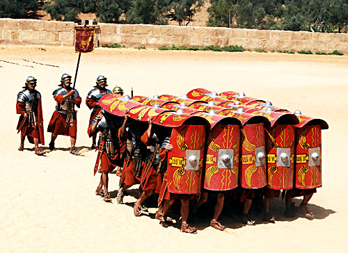 Roman legionaries in the tortoise formation. the Jews fought bravely but were no match for Roman technology, discipline and experience.