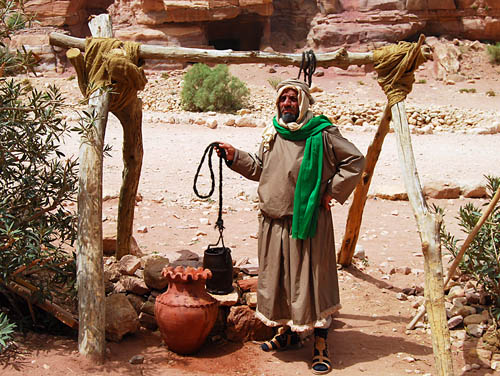 A Bedouin at Petra, Jordan, illustrates the importance of the well. Photo by Ferrell Jenkins.