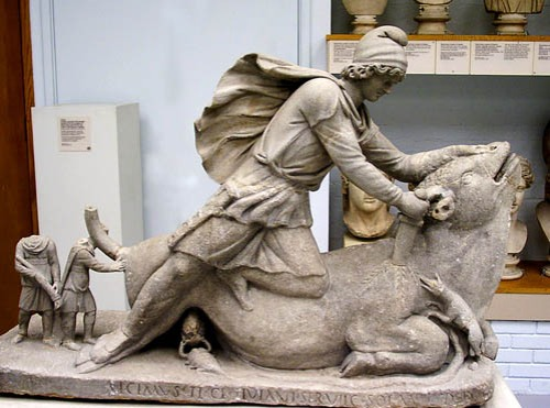 The Sun-god Mithras slaying a bull. Photo by Ferrell Jenkins in the British Museum.