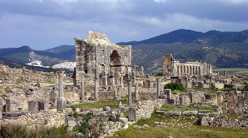 Roman ruins of Volubilis in Morocco. Photo by Ferrell Jenkins.