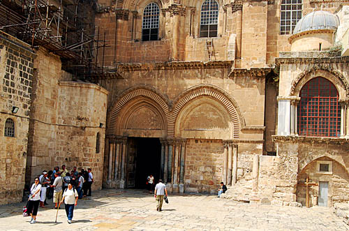Entrance to the Church of the Holy Sepulchre. Photo by Ferrell Jenkins.