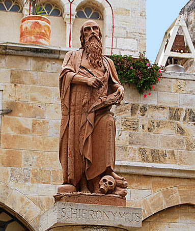 Statue of Jerome in front of St. Catherine's Church. Photo by Ferrell Jenkins.