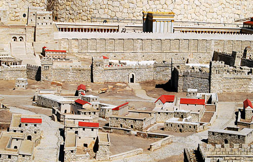 Second Temple model showing location of Calvary. Photo by F. Jenkins.