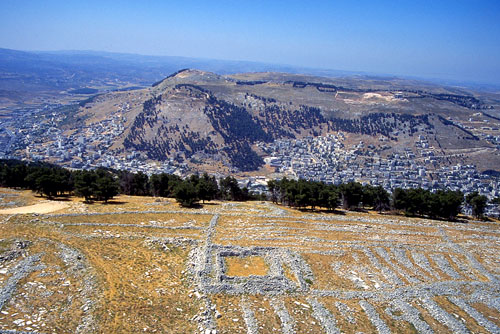 View of Mount Gerizim from above Mount Ebal.