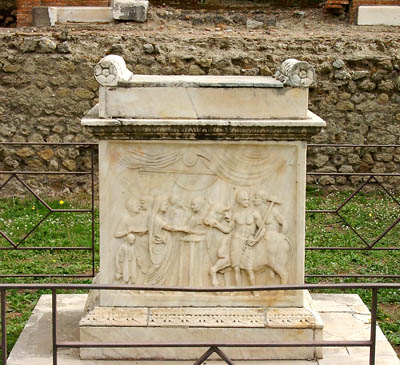 Sacrificial altar, Temple of Vespasian, Pompeii. Photo by Ferrell Jenkins.