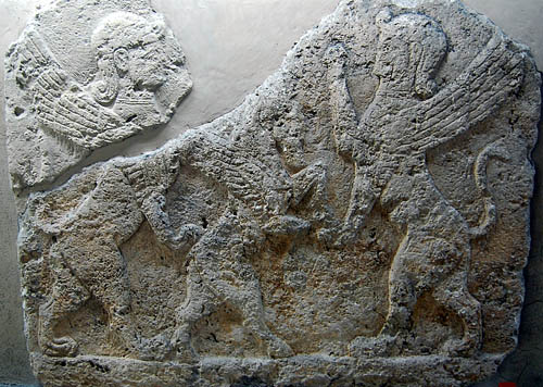 Human-headed sphinxs standing; winged horse standing. Photo by F. Jenkins.
