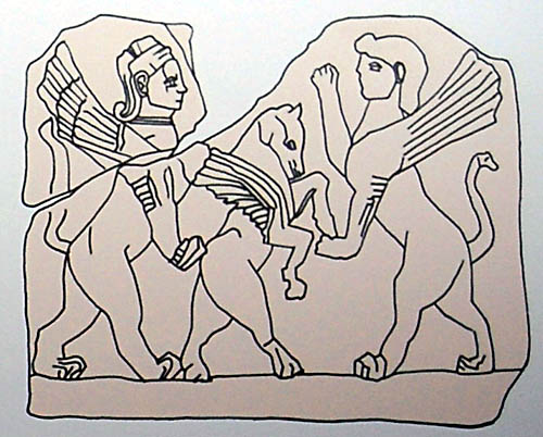 Drawing of the human-headed sphinx and standing horse.