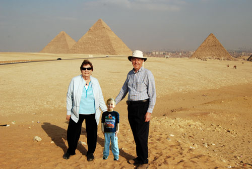 Traveling with our grandson in our heart.