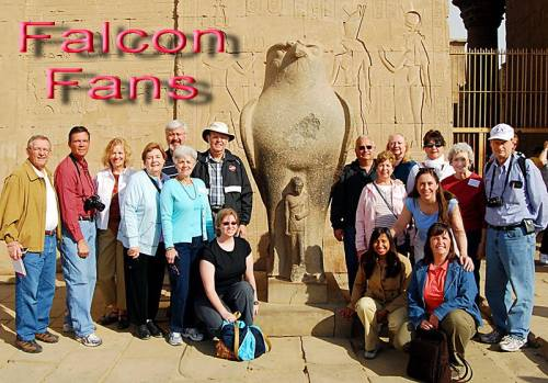 Florida College Falcon fans at Edfu, Egypt. Photo by Sharon Cobb.