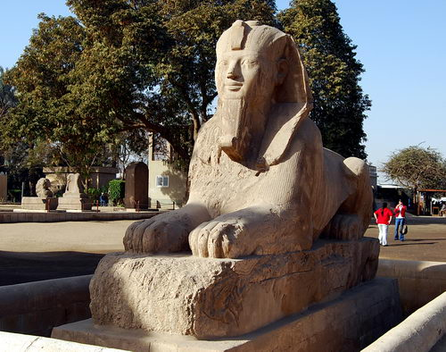 Alabaster sphinx of Rameses II at Memphis. Photo by Ferrell Jenkins.