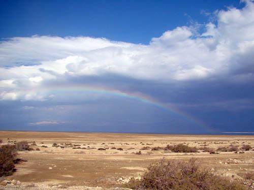 Rainbow over the Dead Sea. Photo by Leon Mauldin.