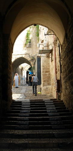 A street in the Moslem Quarter of Jerusalem. Photo by F. Jenkins.