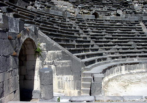 The basalt theater at Umm Queis. Photo by Ferrell Jenkins.