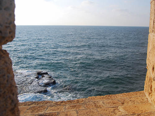 A view of the Mediterranean from the Crusader ramparts at Akko. Photo by Ferrell Jenkins.