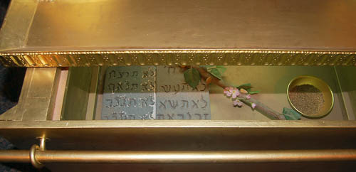 Replica of Ark of Covenant showing contents. Photo by Ferrell Jenkins.