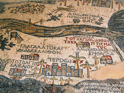 Madaba Map showing Gilgal, Jericho, Jordan River. Photo by Ferrell Jenkins.