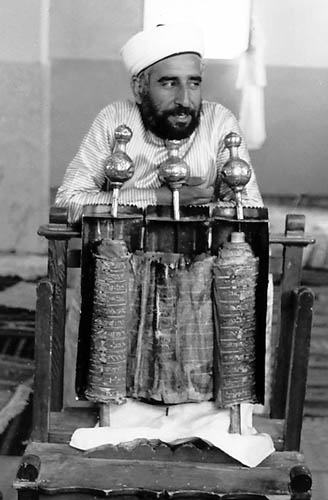Samaritan Priest with Samaritan Pentateuch Scroll. Photo by Ferrell Jenkins.