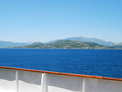 View of Samos from a ship in the strait between island and mainland. Photo by F. Jenkins.