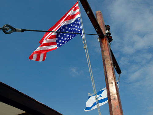 United States flag upside down on Israeli boat. Photo by Ferrell Jenkins.