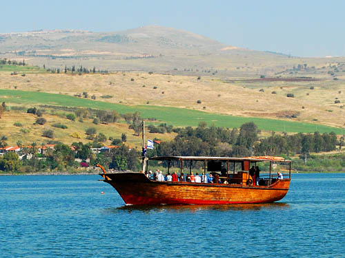 Tourist boat on Sea of Galilee. View to East. Photo by Ferrell Jenkins.