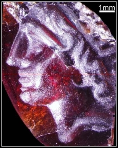 Miniature carving of Alexander from Tel Dor.