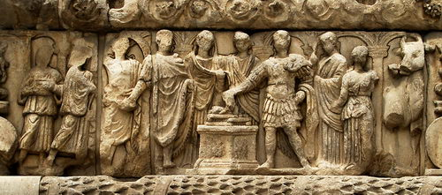 Sacrifice scene on the Arch of Galerius in Thessaloniki. Photo by Ferrell Jenkins.