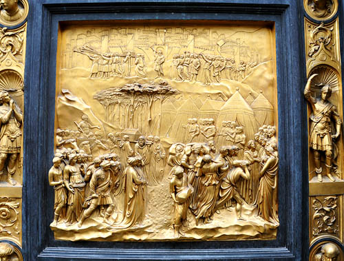 Baptistery panel showing capture of Jeriocho. Photo by Ferrell Jenkins.