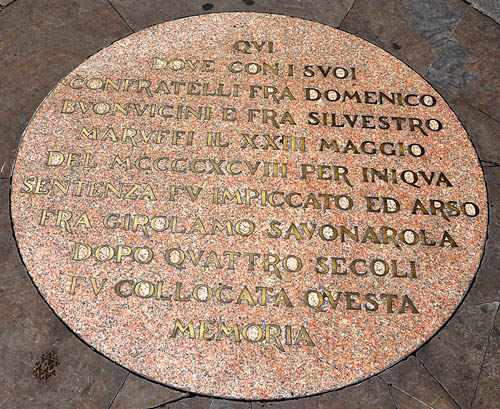 Plaque marking spot where Savonarola died. Photo by Ferrell Jenkins.