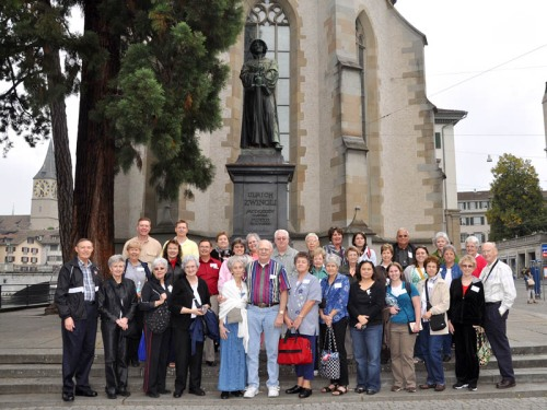 Ferrell Jenkins Tour Group at the Zwingli Statue in Zurich.