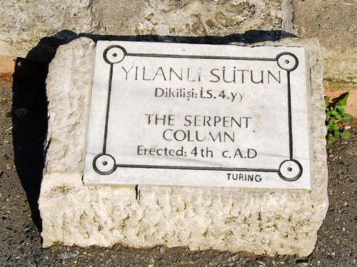 Sign marking the Serpentine Column. Photo by Ferrell Jenkins.