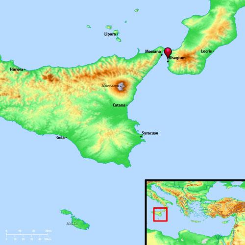 Map Showing Rhegium And Syracuse Ferrells Travel Blog - Syracuse map italy