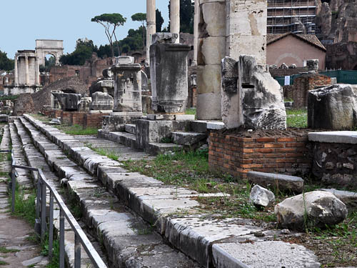 The steps leading to the Basilica Julia in Roman Forum. Photo by Ferrell Jenkins.