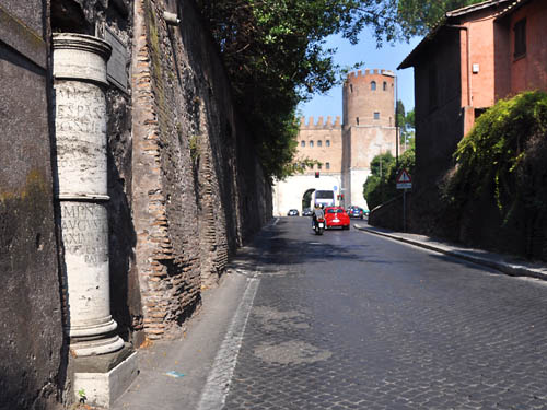 Mile marker on the Appian Way in Rome. Photo by Ferrell Jenkins.