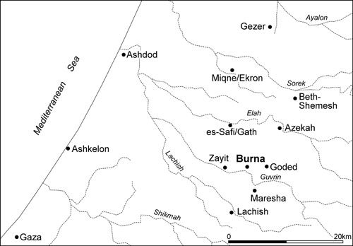 The Shephelah. Map: Tel Burna Excavation Project.