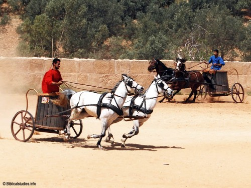 Chariot race at the RACE show in Jerash, Jordan. Photo by Ferrell Jenkins.