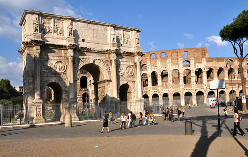 The Arch of Constantine and the Colosseum. Photo by Ferrell Jenkins.