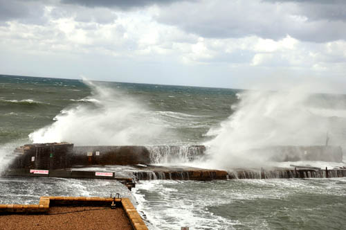 Caesarea Maritima harbor with high waves