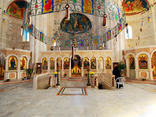 The interior of the Greek Orthodox church covering Jacob's Well. Photo by Ferrell Jenkins 2009.