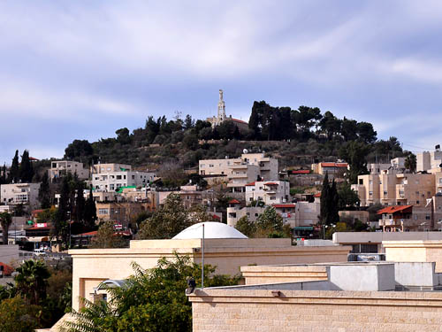 The town of Abu Ghosh, site of biblical Kiriath-jearim. Photo by Ferrell Jenkins.