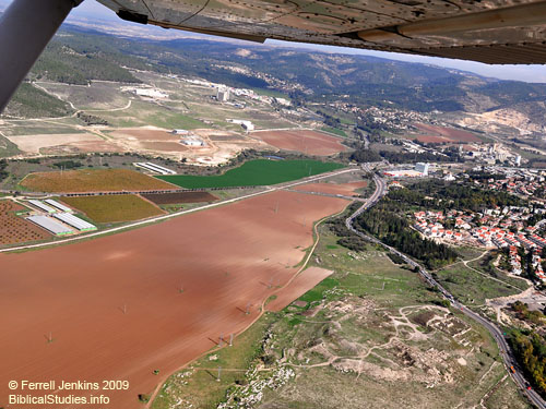 Aerial view of Beth Shemesh and the Sorek Valley. Photo by Ferrell Jenkins 2009.